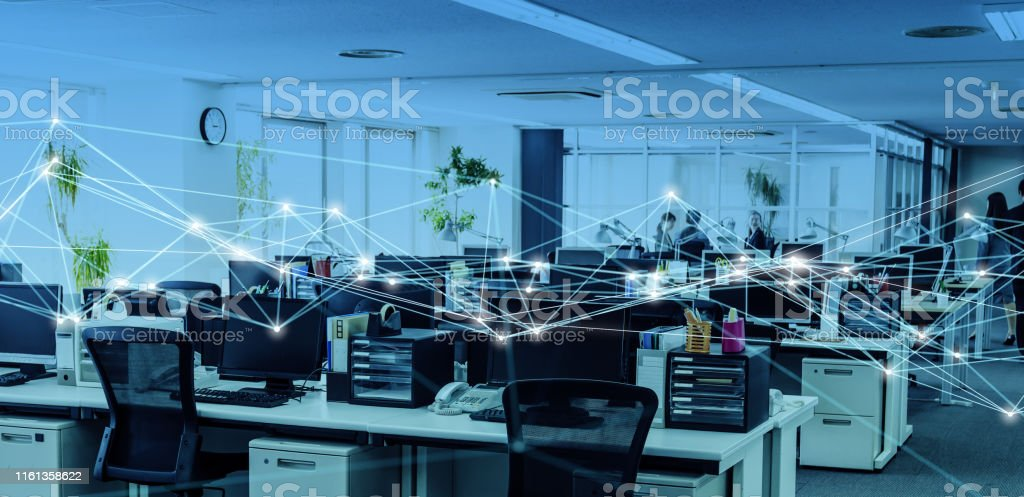 Business office and communication network concept. - Royalty-free 5G Stock Photo