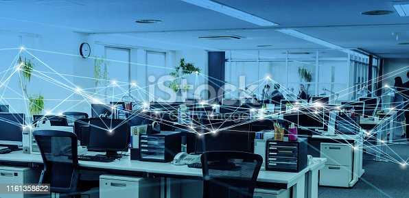 istock Business office and communication network concept. 1161358622