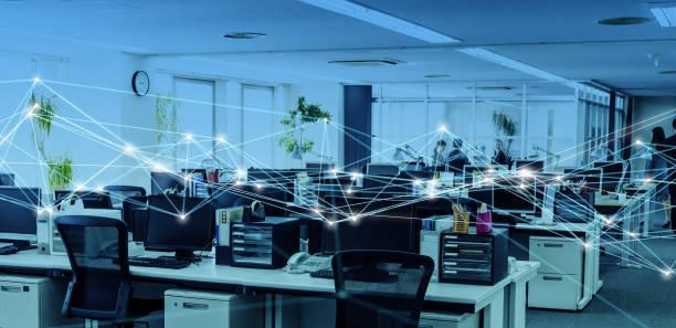 koncepcja biura biznesowego i sieci komunikacyjnej. - sieć komputerowa zdjęcia i obrazy z banku zdjęć
