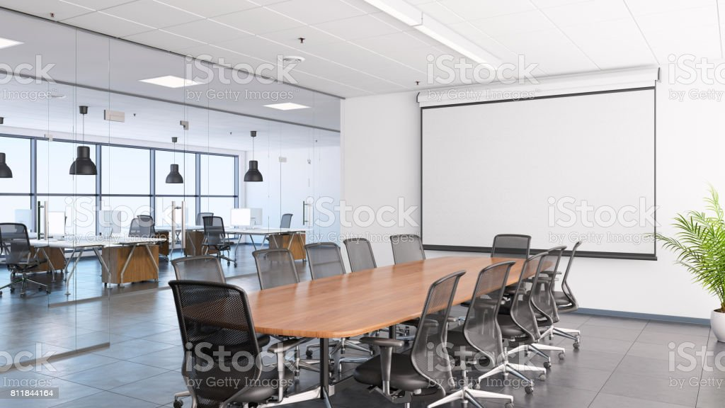 Business office interior, conference desk and projection screen stock photo
