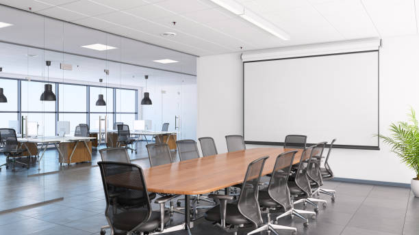 business office interior, conference desk and projection screen - projection equipment stock pictures, royalty-free photos & images