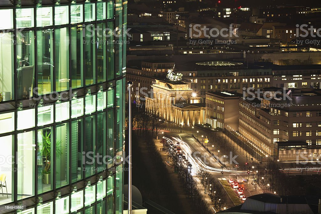 Business Offices in Berlin and Brandeburg Gate royalty-free stock photo