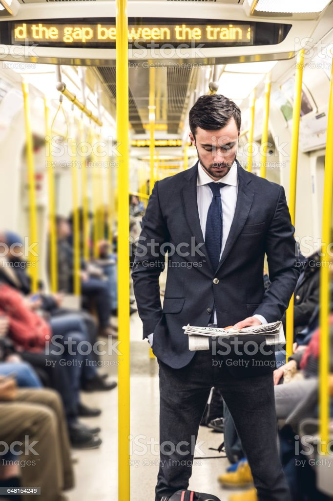 Business on the go - Commuting in the morning in London stock photo