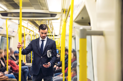 Business on the go - Commuting in the morning in London