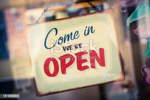 istock Business Opening with Open Sign 181956900
