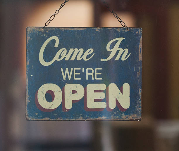 business opening with open sign - grand opening stock pictures, royalty-free photos & images
