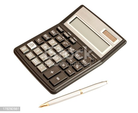 istock Business or educational picture: calculator and pen over white 175292551