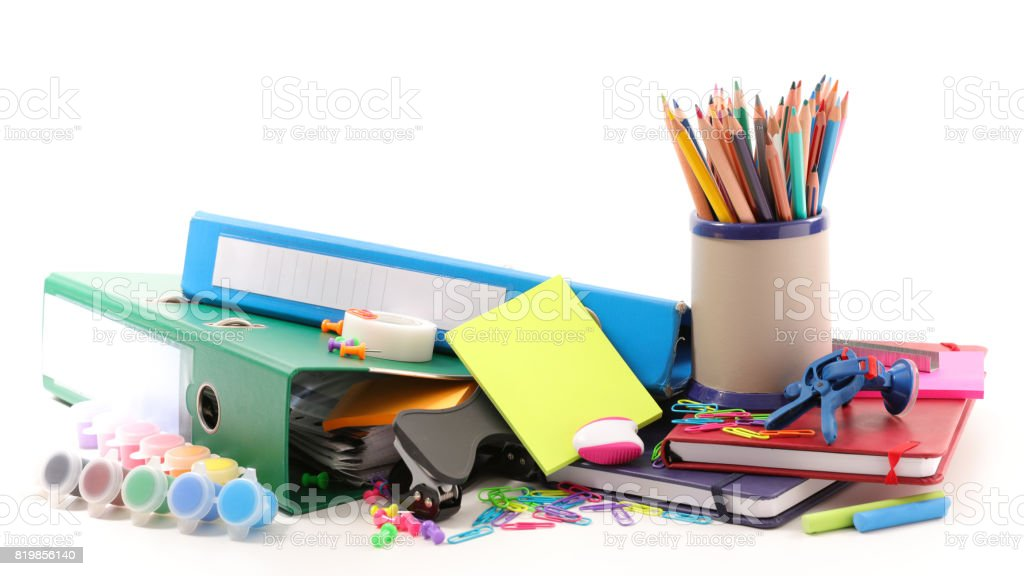 business or school equipments stock photo