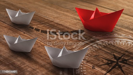 Business or travel concept: a group of white paper ships heading in one direction and one red paper ship individual pointing in the different way as a business,, travel or shipping industry icon for innovative solution.