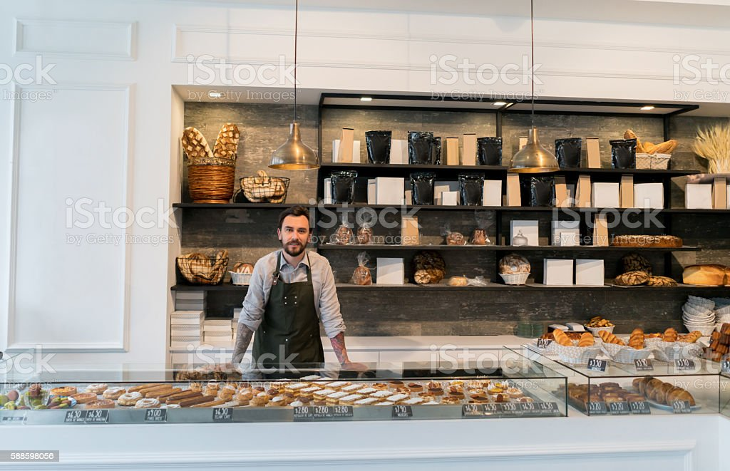 Business owner at a bakery shop stock photo