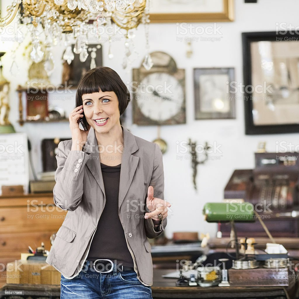 Business Owner Using Smart Phone stock photo