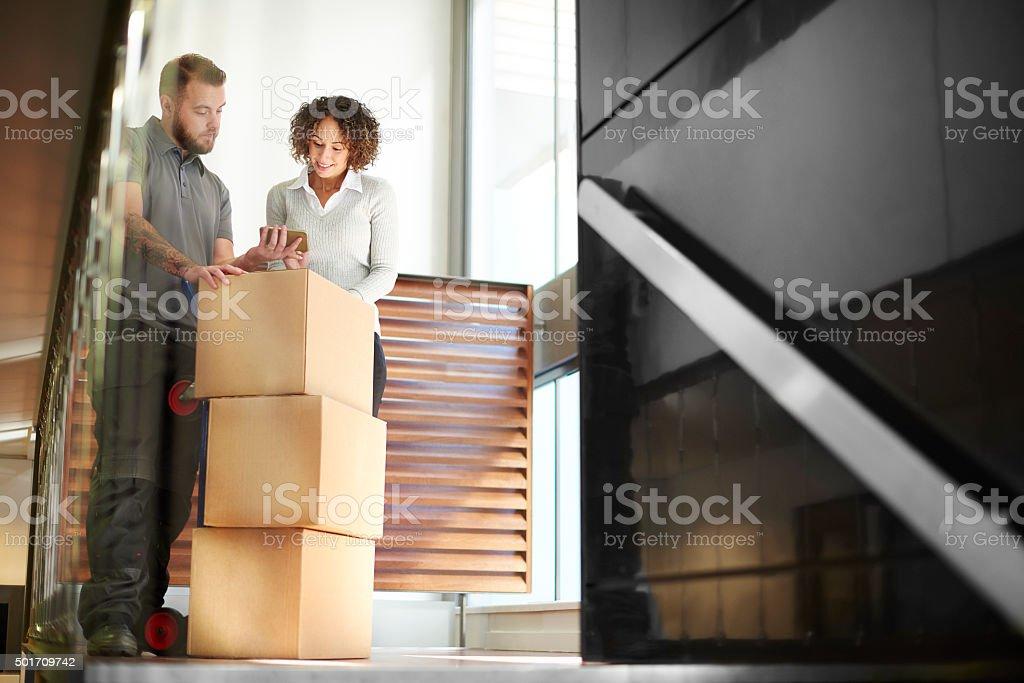 business parcel courier stock photo
