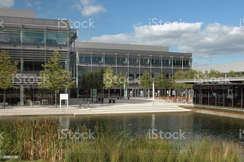 Business park: building with pond stock photo