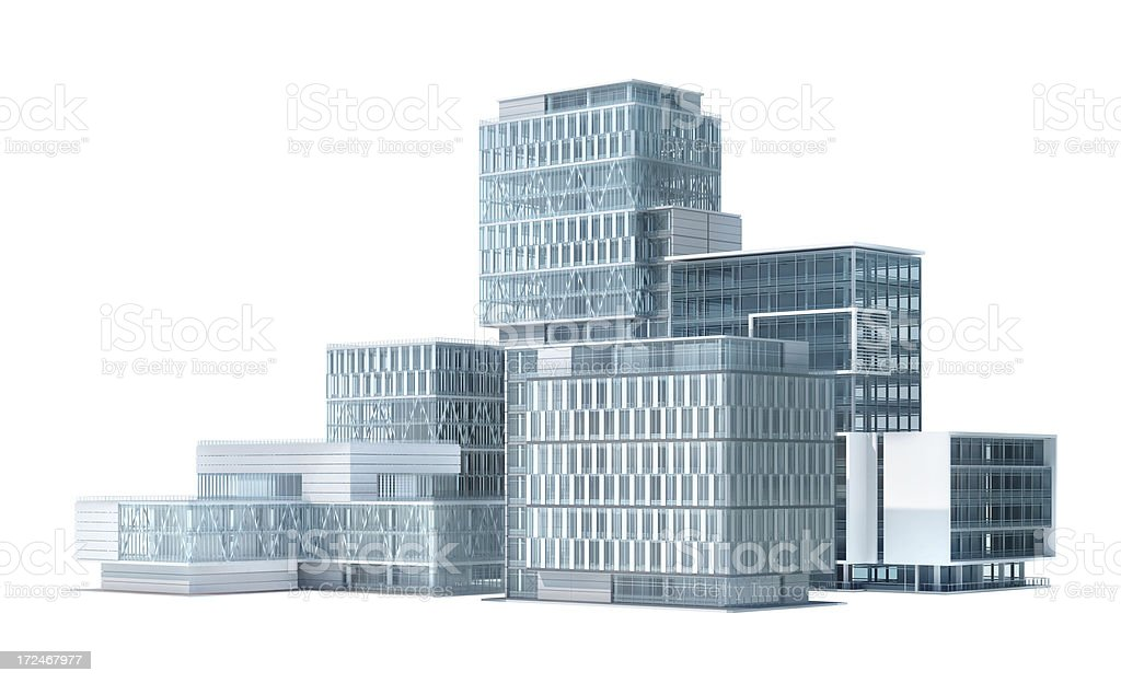 Business park: group of office buildings, with clipping path royalty-free stock photo