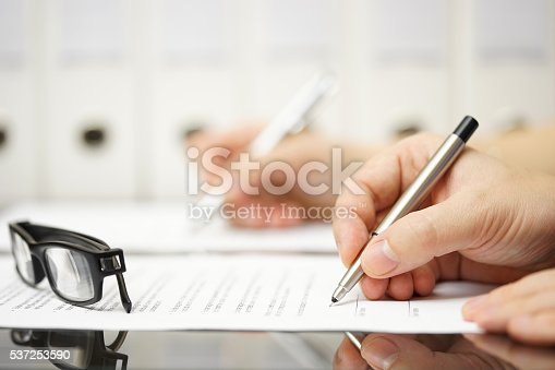 istock Business partners are signing contract after successful meeting 537253590