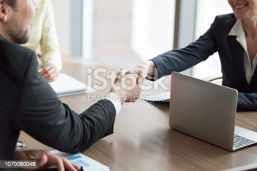 843963182 istock photo Business partners handshaking greeting at office meeting 1070080048