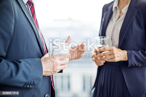 istock Business partners having a discussion during coffee break 638667916