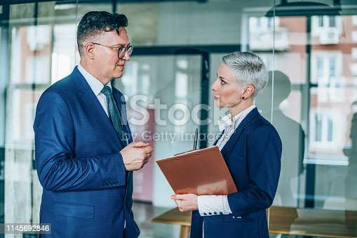 1157633068 istock photo Business partners in discussion 1145692846