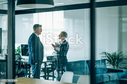 Business couple discussing important documentation