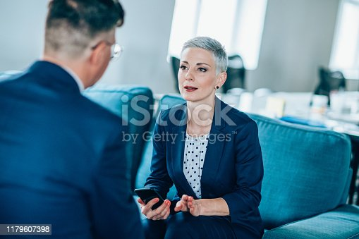 1157633068 istock photo Business partners in discussion 1179607398