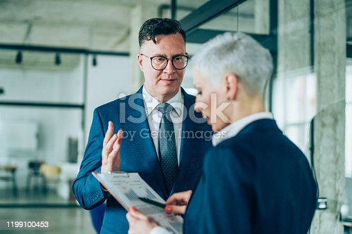 1157633068 istock photo Business partners in discussion 1199100453