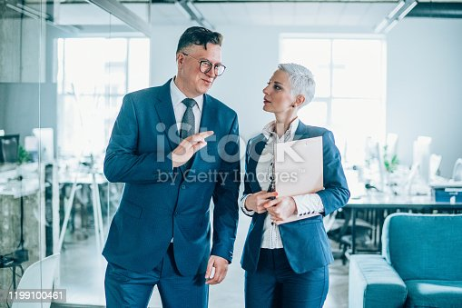 1157633068 istock photo Business partners in discussion 1199100461