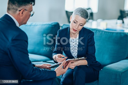 1157633068 istock photo Business partners in discussion 1205353653
