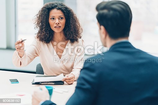 istock Business partners in discussion 920638152