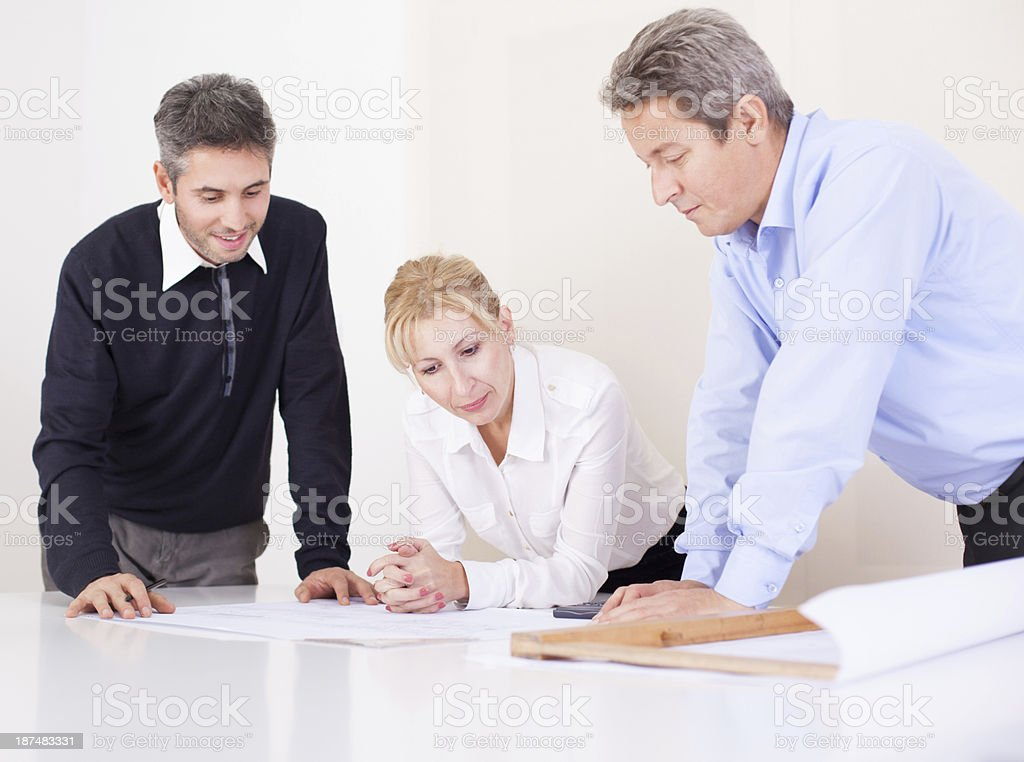 Business partners making plan royalty-free stock photo