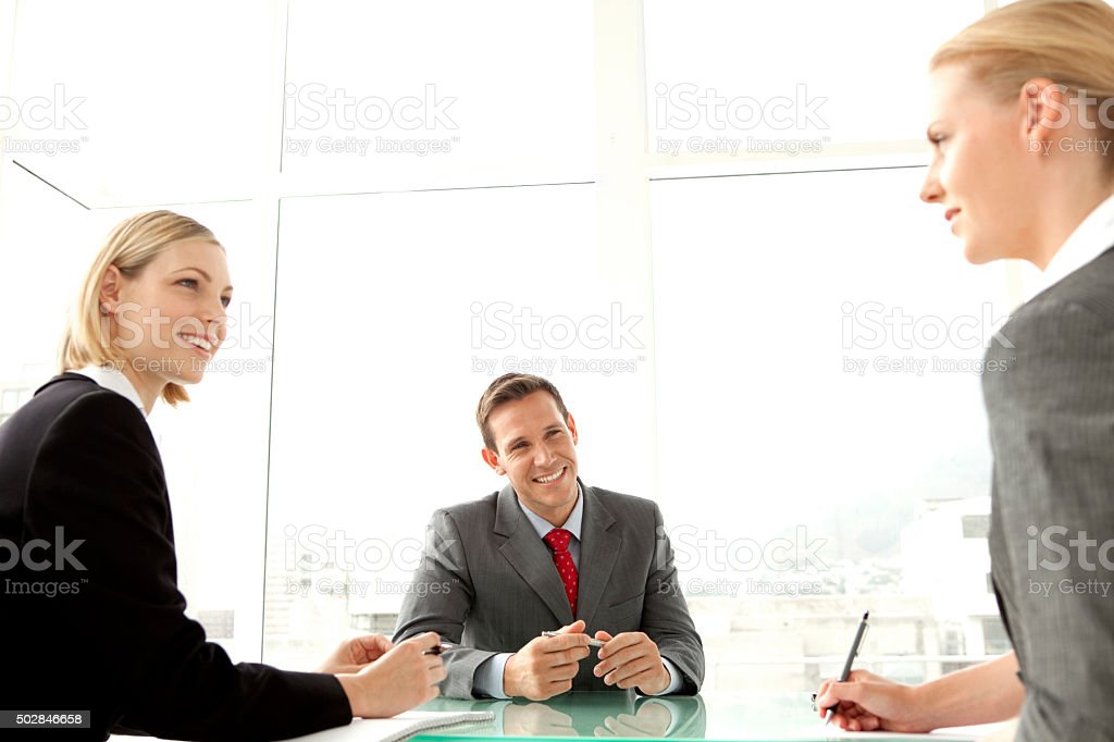 Business partners meeting stock photo