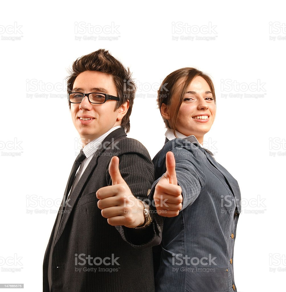 Business partners showing okay sign royalty-free stock photo