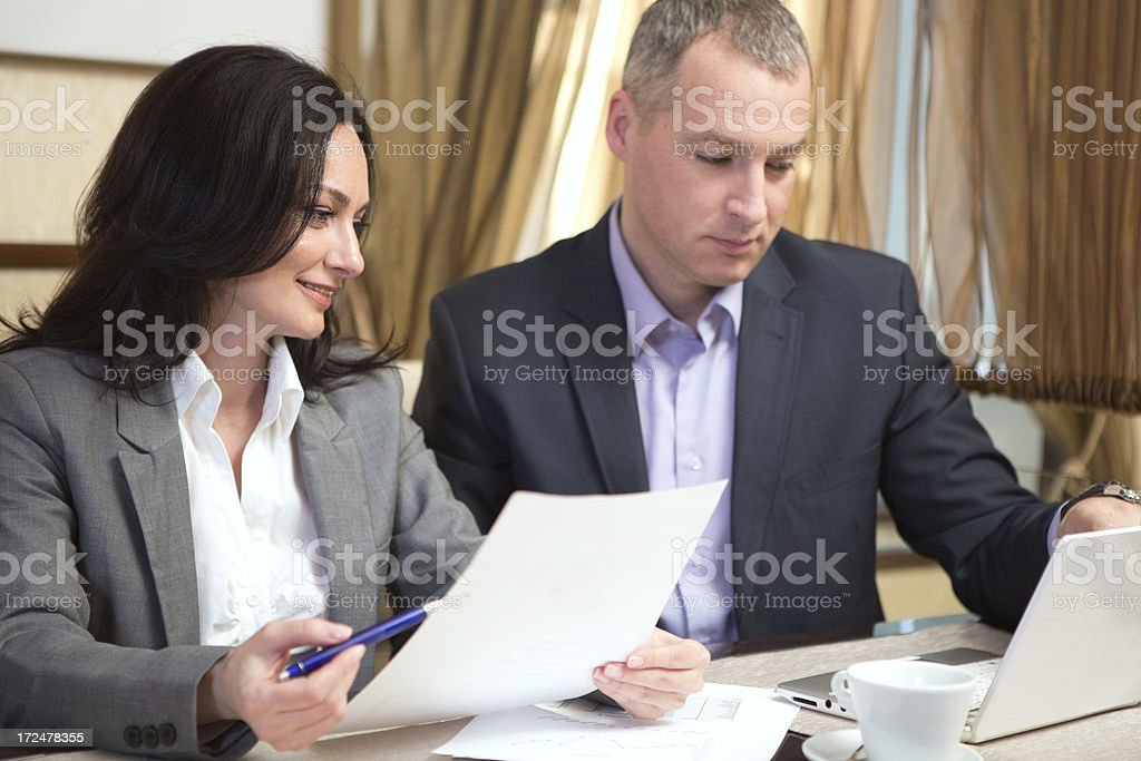 Business partners working in restaurant. royalty-free stock photo