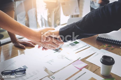 istock Business Partnership concept. business man shaking hands during a meeting in the office, success, dealing, greeting. 905777880