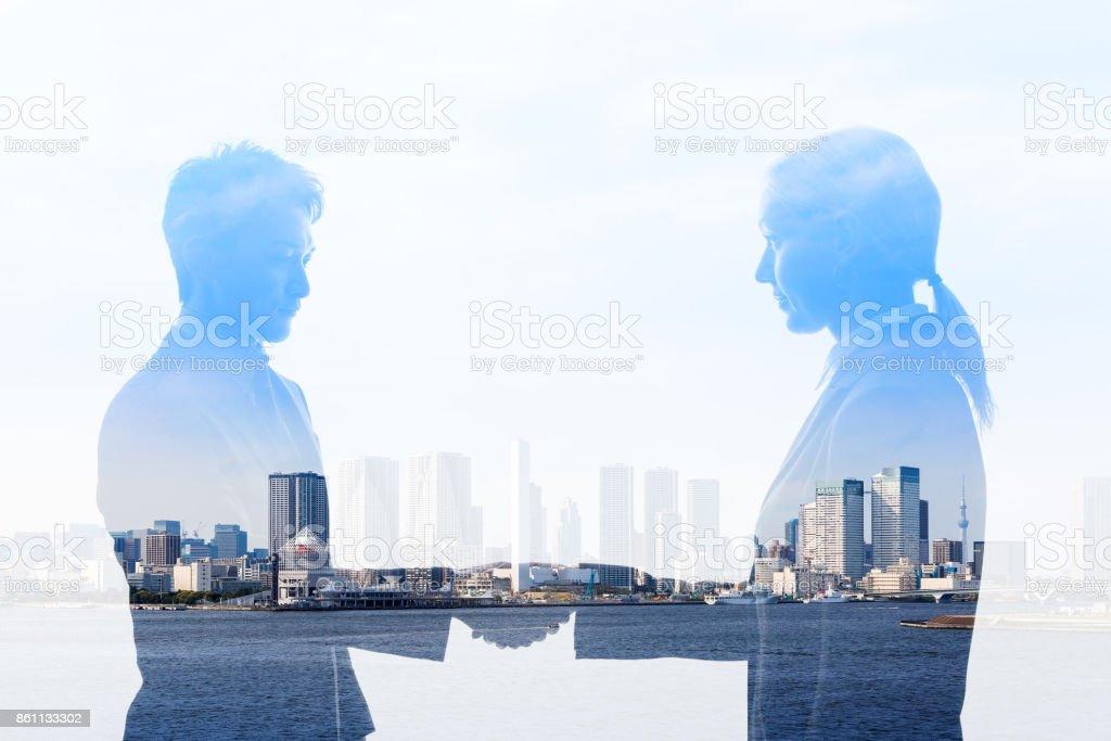 Business partnership concept. Multiple exposure. stock photo