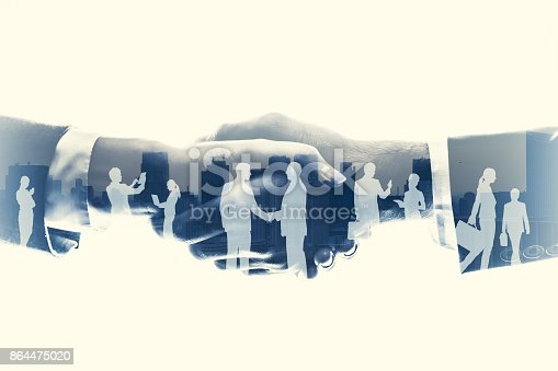 istock business partnership concept. Multiple exposure. 864475020