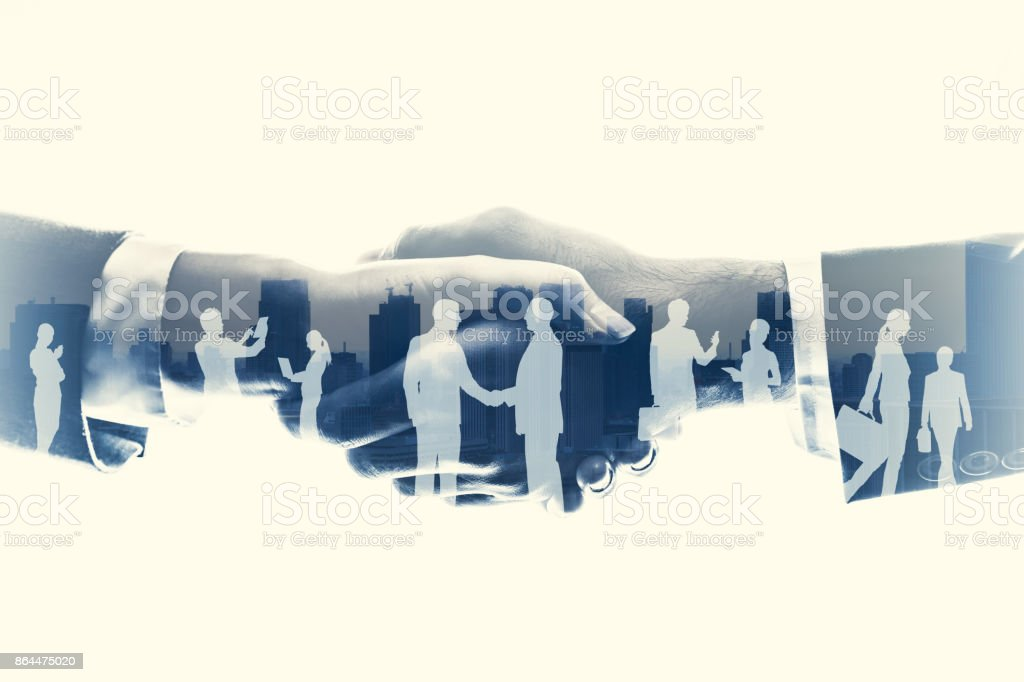 business partnership concept. Multiple exposure. stock photo