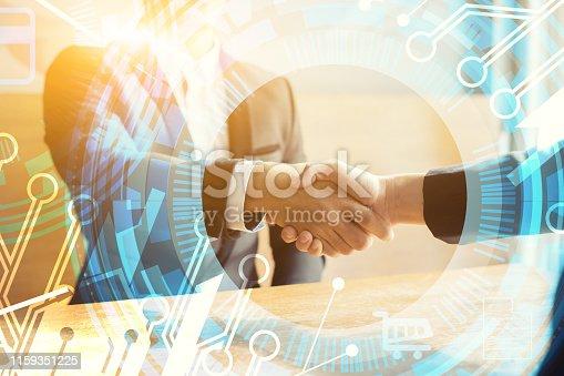 istock Business partnership marketing meeting concept. Image businessmans handshake. Successful businessmen handshaking after good deal.vintage color, Discussing Together Startup Idea.Working Online Project 1159351225