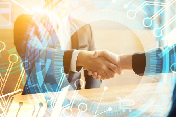 Business Partnership Marketing Meeting Konzept. Bild-Geschäftsleute Handshake. Erfolgreiche Geschäftsleute Handshaking nach good deal.vintage Farbe, Diskutieren Zusammen Startup-Idee.Working Online-Projekt – Foto