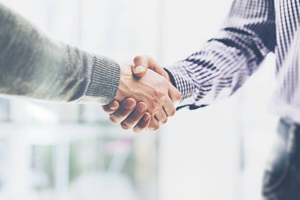 business partnership meeting concept. image businessmans handshake. successful businessmen handshaking - handshake stock pictures, royalty-free photos & images