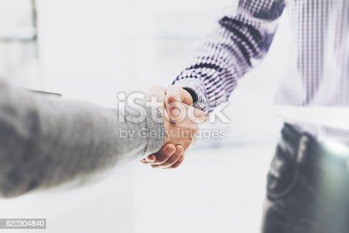 istock Business partnership meeting. Image businessmans handshake. Successful businessmen handshaking after 522304840