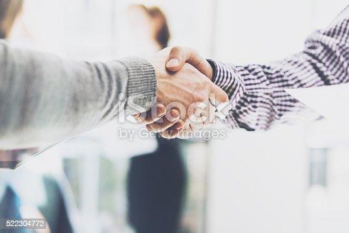 istock Business partnership meeting. Picture businessmans handshake. Successful businessmen handshaking after 522304772