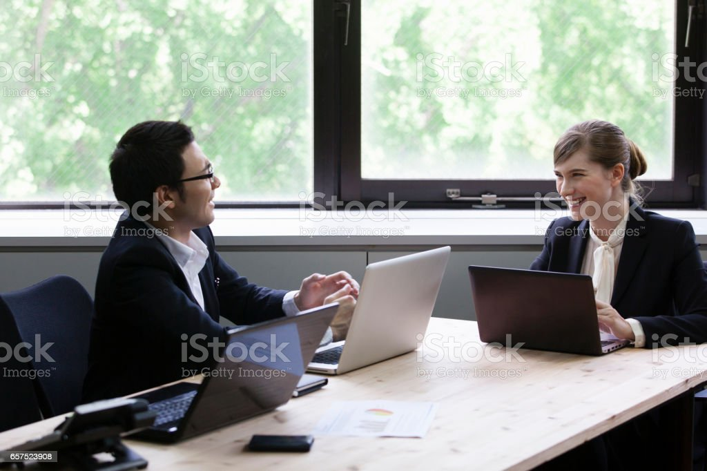 Business PC while chatting stock photo