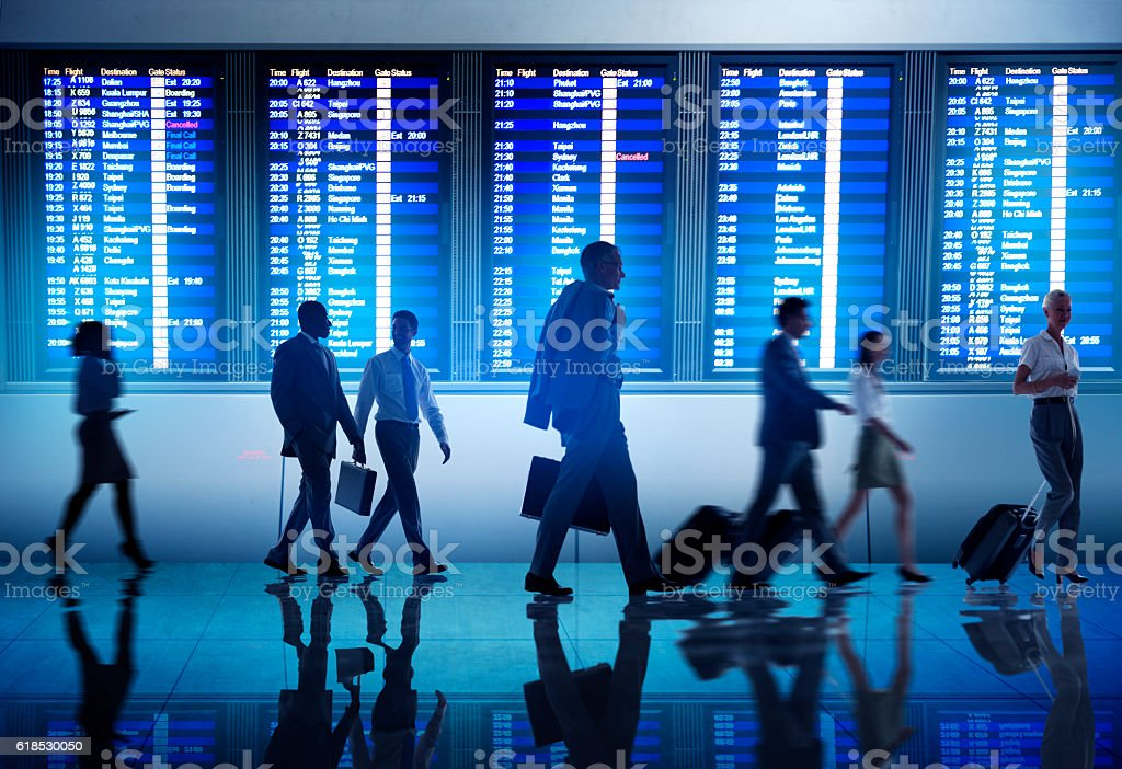 Business People Airport Terminal Travel Departure Concept stock photo
