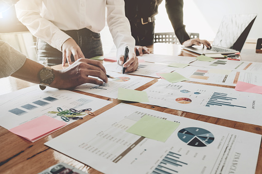 istock Business People Analyzing Statistics Business Documents,  Financial Concept 896613410