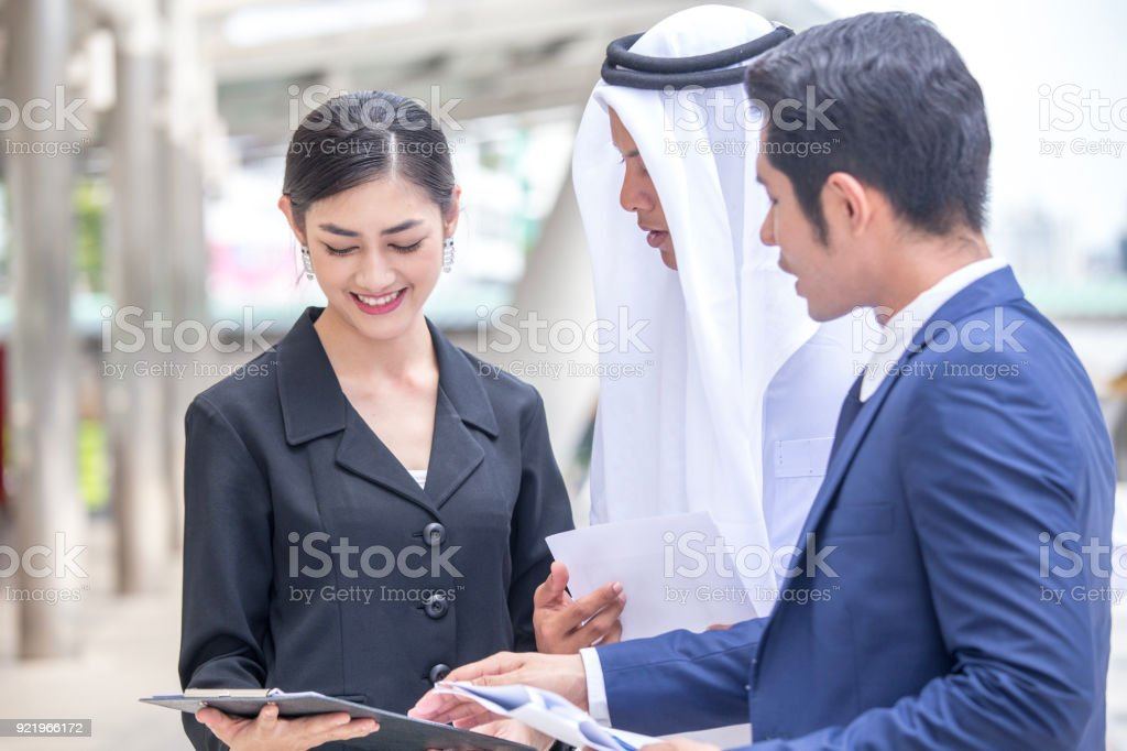 Business People and Arab people Work Together. People talking for...