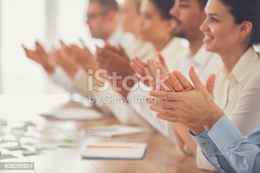 639200924 istock photo Business people applauding in meeting 639200924