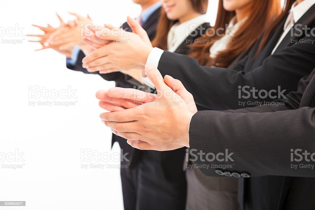 business people applauding on isolated white background stock photo