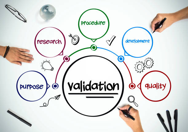 "business people are working on ""validation"" - convalida foto e immagini stock"