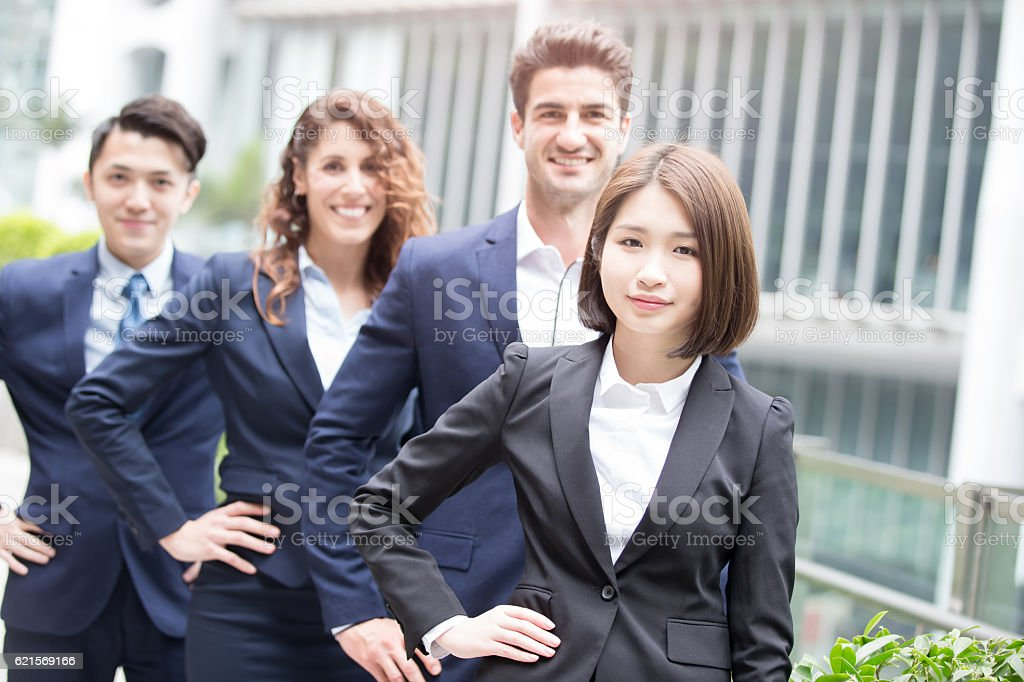 business people arms akimbo foto stock royalty-free