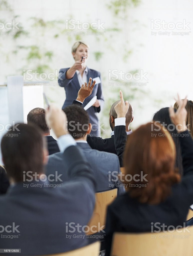 Business people asking questions royalty-free stock photo